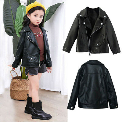 Toddler Baby Girls Black Faux Leather Warm Biker Jacket Coat Windproof Outwear F • 9.38£