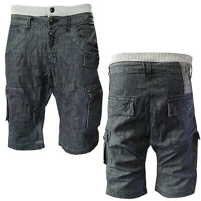 55 Soul MSRT- Sparkdark Denim Cargo Drop Crotch Shorts • 16.99£
