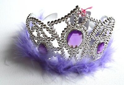 NEW Plastic Silver Childrens Purple Oval Jewel Tiara Hair Accessory Party Prom  • 4.99£