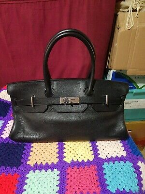 AU8500 • Buy Authentic Hermes 42cm Noir Taurillon Clemence Shoulder Bag Argente Palladium JPG