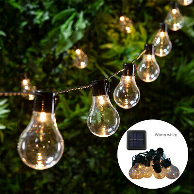 Retro Solar String Lights Outdoor Garden LED Festoon Party Globe 10/20 Bulbs UK • 11.99£