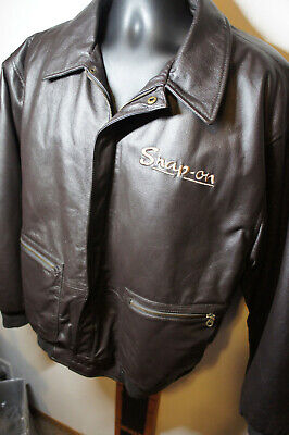 $ CDN75.96 • Buy Snap-on Tools XL Brown Leather Insulated Bomber Flight Jacket Snapon Racing  O48