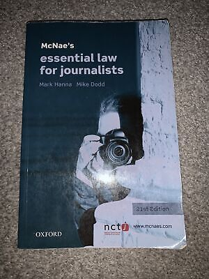 £5 • Buy McNae'e Essential Law For Journalists Book (paperback) 2013