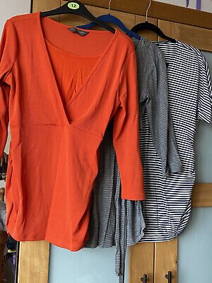Maternity Tops Bundle X 3, Sizes 12 / M / S, Breastfeeding, Great Condition • 10£