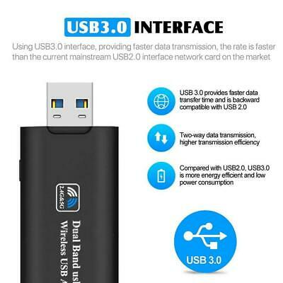 AU13.98 • Buy 1200Mbps USB 3.0 Wireless WiFi Network Receiver Adapter 5GHz Dual Band HOT
