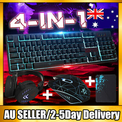 AU48.99 • Buy Gaming Keyboard Mechanical Keyboard And Wired Mouse/Pad Headset 4 IN 1 Set