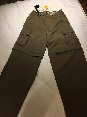 Laksen Ladies Mara Zip Off UV Scotchgard Trousers Shorts 8 XS Khaki Green NEW • 40£