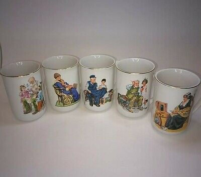 $ CDN11.22 • Buy Norman Rockwell Coffee Cups Mugs Lot Of 5 Museum Collection 1986 Vintage Unused