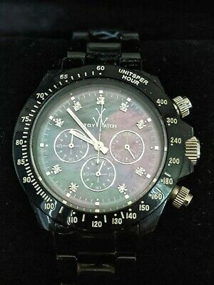 Designer Toy Watch Black Pearlescent Chronograph Dial With Boxes & Tags • 9£