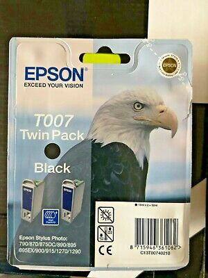 Epson T007 Black Ink Cartridge. Twin Pack NEW • 7.50£