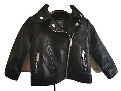 Girls Faux Leather Jacket Age 12-18 Months • 5.50£