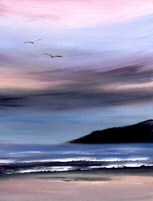 WATERCOLOUR PAINTING SEASCAPE, Dawn Sky, Beach, Sea,Coast Sarah Featherstone ART • 12£