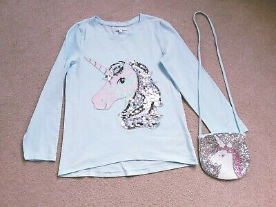 Blue Zoo (Debenhams) Girls Long Sleeve Mint Green Unicorn T-shirt & Bag • 3.50£