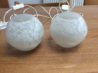 Ikea Glass Table Lamp X2 Floral Pattern • 8£
