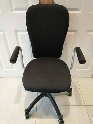 IKEA Nominell Fabric Black Office Chair 5 Wheels Adjustable Height And Back Tilt • 15£