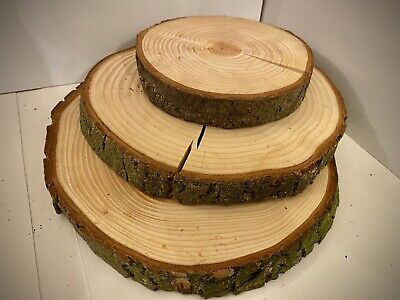 3x Log Slice Wedding Table Centre Piece Rustic Cake Stand Tree Real Wood 15-25cm • 9.99£