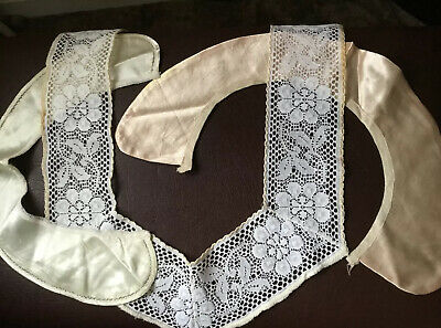3 Vintage Cream Lace And Satin Collars In VGC. Handmade/sewing/dressmaking. • 7.99£