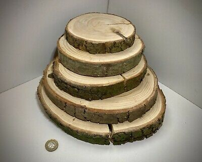5x Log Slice Wedding Table Centre Piece Rustic Cake Stand Tree Real Wood 15-28cm • 13.99£