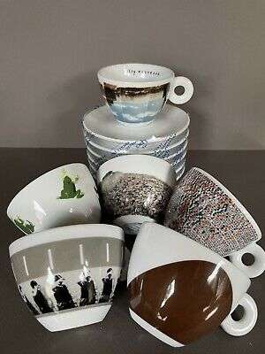 2001 ILLY Espresso PS1 Cappuccino Set Of 6 Coffee Cups & Saucers WTC 9/11 Memory • 71.52£