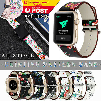 AU11.85 • Buy For Apple Watch 38  Pattern Band Series 5 4 3 2 Floral Leather IWatch Strap Band
