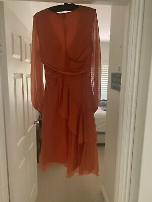 AU40 • Buy ASOS Dress Soft Flowing Midi Maxi Orange Size 14