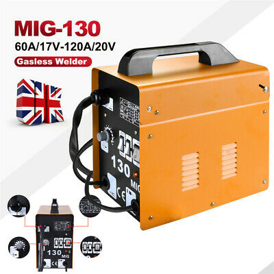 Professional Gasless Mig 130 Welder No Gas Flux Core Auto Wire Feed Welding 230V • 86.99£