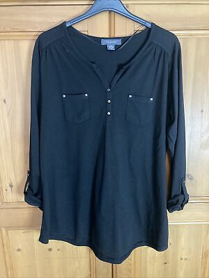 Primark Ladies Black Long Line Tunic Top Size 18/20(XL) Very Good Condition • 6£