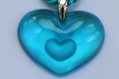 BNIB - Lalique 925 Silver TENDER HEART Turquoise Crystal Heart Pendant Necklace • 99£