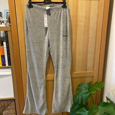 Iets Frans @ Urban Outfitters Grey Velour Flare Bottoms, Large (10/12). BNWT • 20£