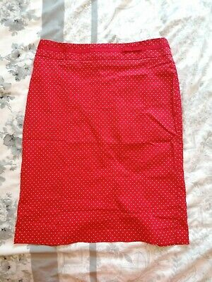 Next Pencil Wiggle Skirt Red Polka Dot Size 12 • 3£