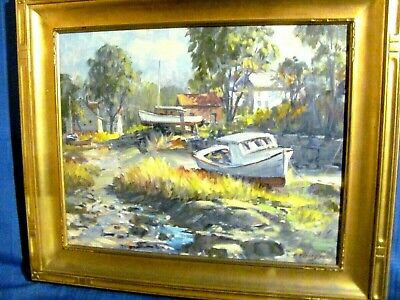 £421.88 • Buy Vintage Oil Painting Rockport Fishing Vessels At  Low Tide  Lane's Cove