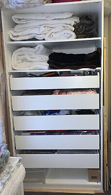 IKEA PAX White Double Frame Wardrobe With Shelves & Drawers • 98£