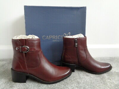 New Caprice Pavers 100% Leather Ankle Boots Size 3.5 Bordeaux On Air Insole  • 39.99£