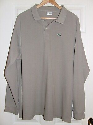 Men's Lacoste Beige Grey Polo Shirt Size 8 XXXL  3Xlarge • 10£