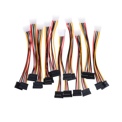10x 4 Pin Ide Male To Dual Sata Y Splitter Female Hdd Power Adapter Cable Luo Tx • 6.64£