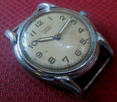 Vintage 1940s LANCO 15 Jewels Military Swiss Made Running Wristwatch  • 2.14£