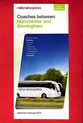 £3.95 • Buy National Express Coach Timetable ~ Manchester & North West To Birmingham - 2012