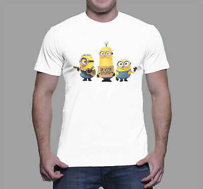 Minions I`m With Stupid Funny Men T-shirt - Joke Gift Size S - 5XL • 15.99£