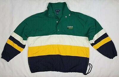 Izod Pull Over Jacket Mens Size XL Green Nylon Snap Buttons Nautical Vntg Lacost • 16.44£