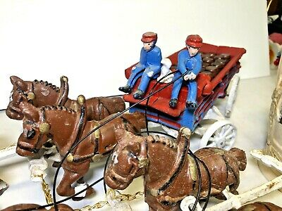 $ CDN115.44 • Buy ⭐Vintage Cast Iron Beer Wagon 8 Clydesdale Horses Drivers Dog, Kegs Budweiser⭐
