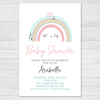 Personalised Rainbow Baby Shower Invitations Invites | Boy Or Girl | Pack Of 10 • 4.75£