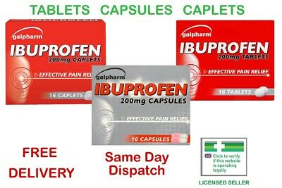 Galpharm Ibuprofe 200mg Tablets Caplets  Capsules Pain Migraine Fast Dispatch • 2.98£