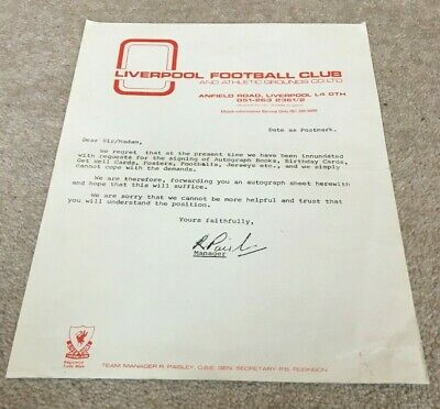 1970's Covering Letter From Liverpool FC Responding To Autograph Request • 5.99£
