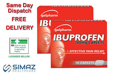 GAL IBUPROFE 16 200MG TABLETS PAIN RELIEF Migraine Period Tooth Cold Flu Max 2 • 1.94£