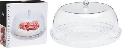 £14.95 • Buy Large 33cm Clear Plastic Cake Dome Cake Stand Crystal Effect Plate With Cover
