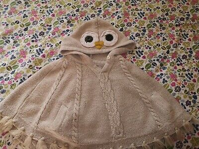 Monsoon Owl Girls Poncho Size 12-24 Months (fits Upto 4 Year Old!)  • 0.99£