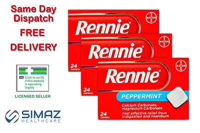 Rennie Peppermint Heartburn Indigestion Relief 24 Chewable Tablets Stomach Acid • 4.35£