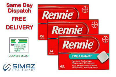 Rennie Spearmint Heartburn & Indigestion Relief 24 Chewable Tablets Stomach Acid • 4.35£
