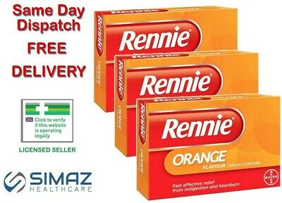 Rennie Orange Heartburn & Indigestion Relief 24 Chewable Tablets Stomach Acid • 4.35£