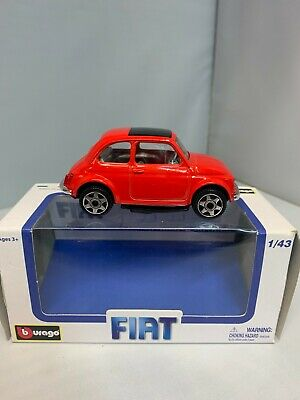 Burago Old Fiat 500 Die Cast Model Car In Red Scale 1:43 New Rare DAMAGED  • 10£